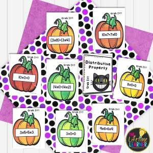 halloween math activities for elementary with pumpkins and a cat for a matching game on a purple background