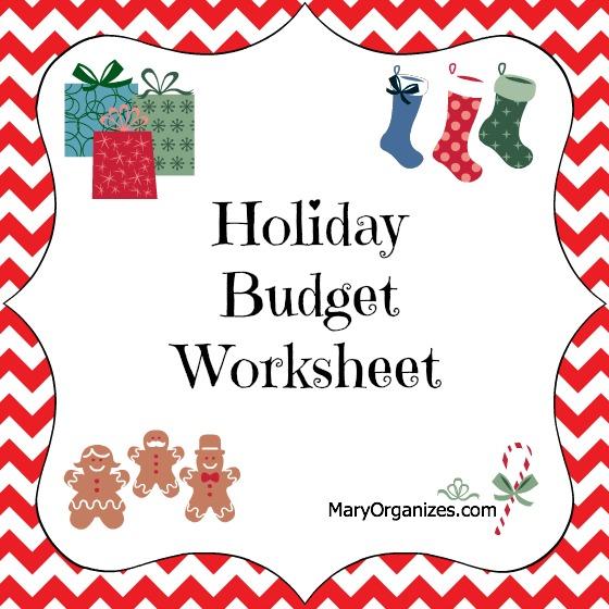 Holiday Budget Worksheet