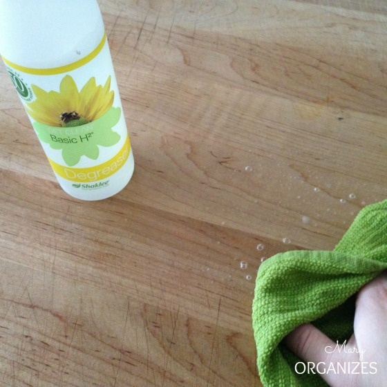 Step 1 - Maintain and Clean the butcher block with Shaklee Basic H2