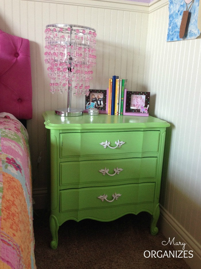 This nightstand matches her dresser too - I love their antique dressers
