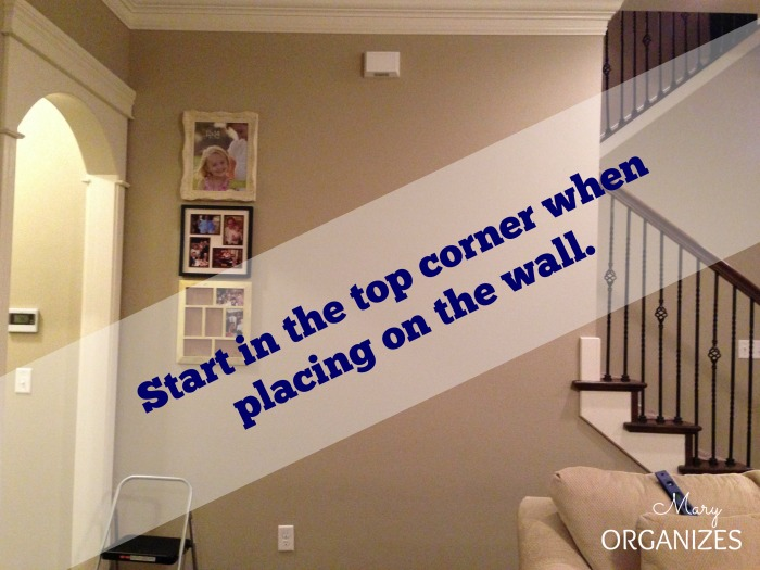 Start in the top corner when placing on the wall