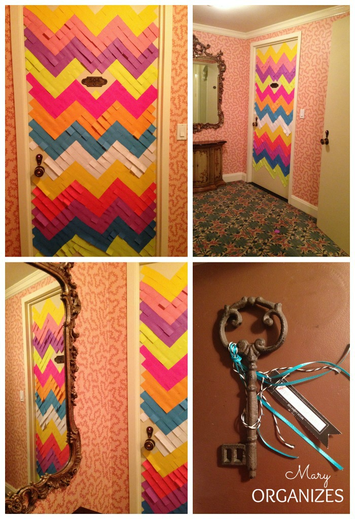 Chevron door decorated with sticky notes