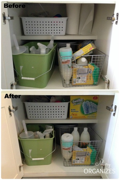 Laundry Room Update - just a little tidy of the cabinets can make a feel-good difference
