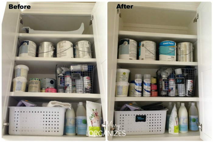 Laundry Room Update - tidy up and label inside the cabinets