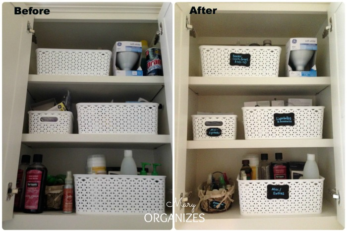 Laundry Room Update - tidy up and label the cabinets
