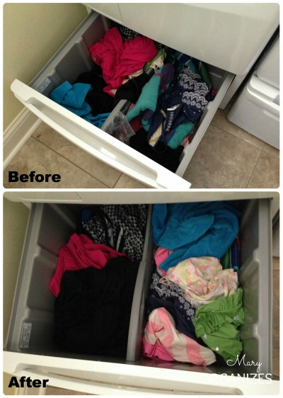 Laundry Room Update - tidy up the swim stuff drawer