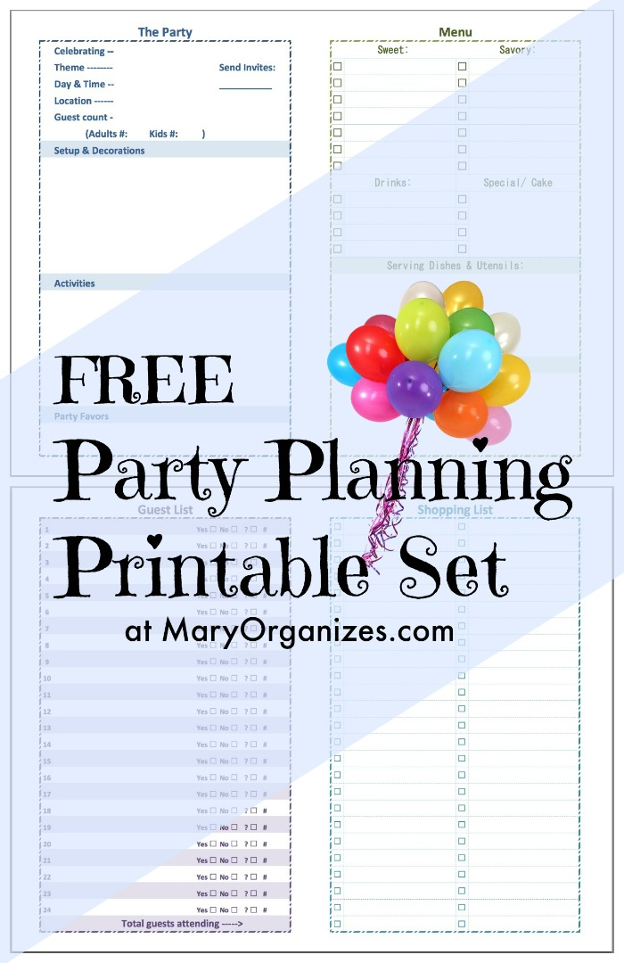 photograph regarding Party Planning Printable called Bash Coming up with [Printable] Established -
