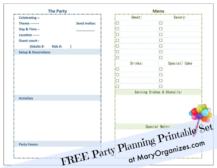 Party Planning Printable Set - page 1