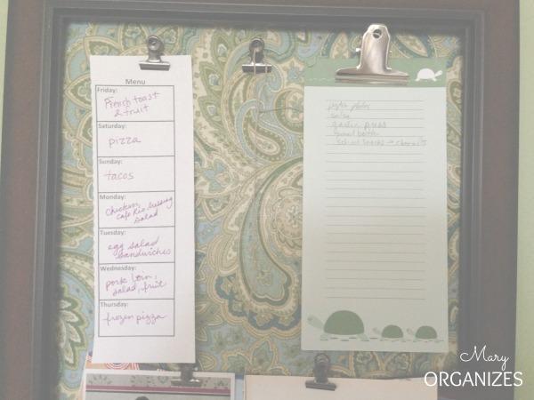 Menu and shopping list
