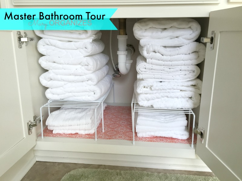 Mary ORGANIZES Master Bathroom Tour - Towel cabinet