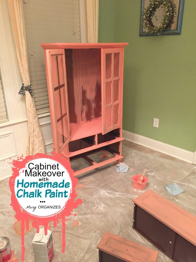 Cabinet Makeover with Homemade Chalk Paint - 2 and 3 coats painted