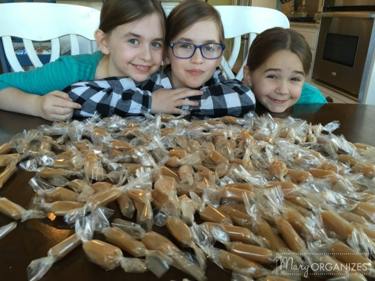 Homemade Caramel - my girls love to help me wrap the caramels