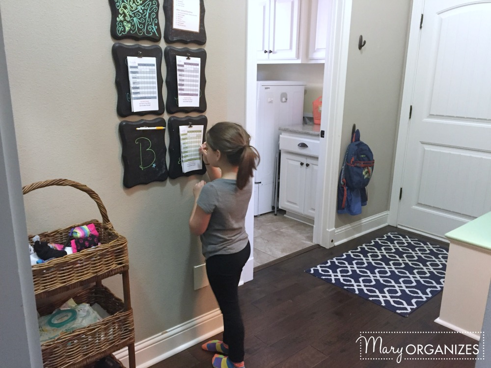 Mary Organizes - mud area - chore check lists