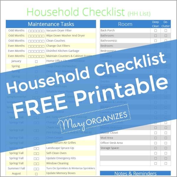 Household Management Checklist – The HH List