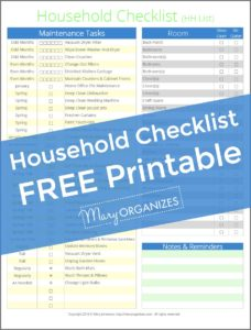 Household Checklist FREE Printable - HH List -v