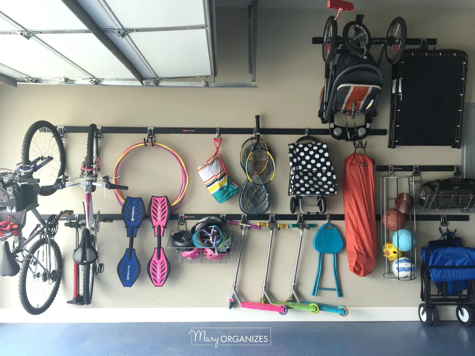 Garage Organizing - How to hang bikes scooters ripsticks balls and more -g9