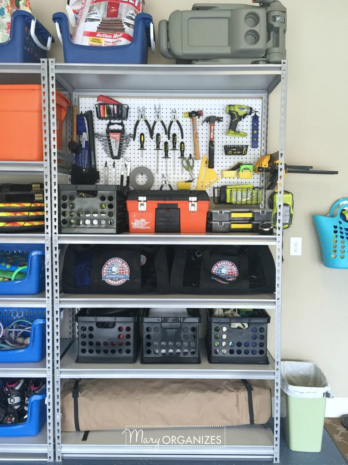 Pegboard Hack and Organizing Garage Shelves 4
