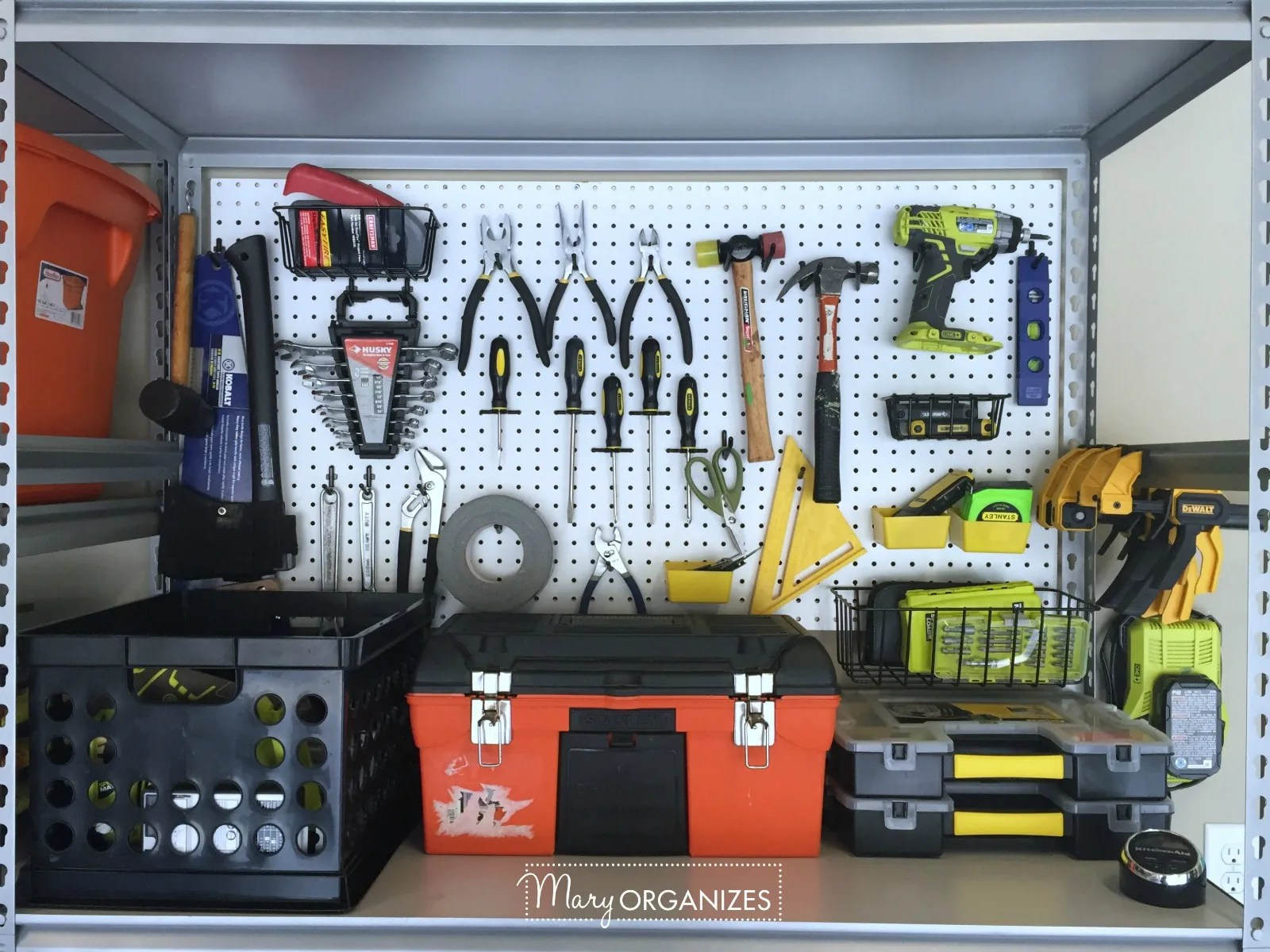 Pegboard Hack and Organizing Garage Shelves 5