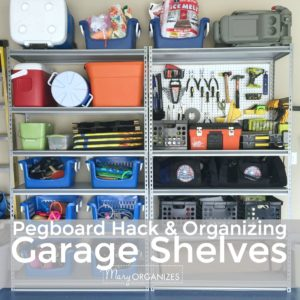 Pegboard Hack and Organizing Garage Shelves -s