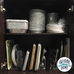 Simple Organizing Fix for Wasted Cabinet Space  {Kitchen Cabinet Organizing}