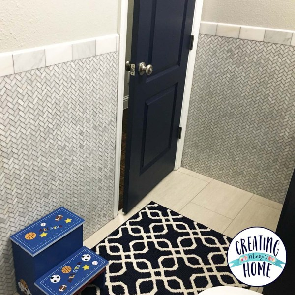 Updated Small Bathroom & Map Wall Feature