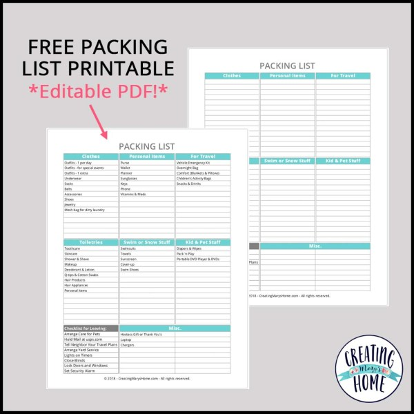 Packing List Printable *Editable PDF!*