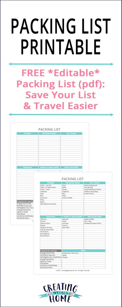 Packing List Printable Editable Pdf  CreatingmaryshomeCom