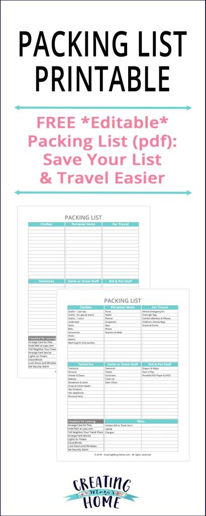 Packing List Printable Editable PDF