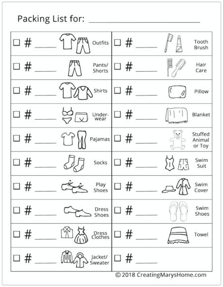printable packing list