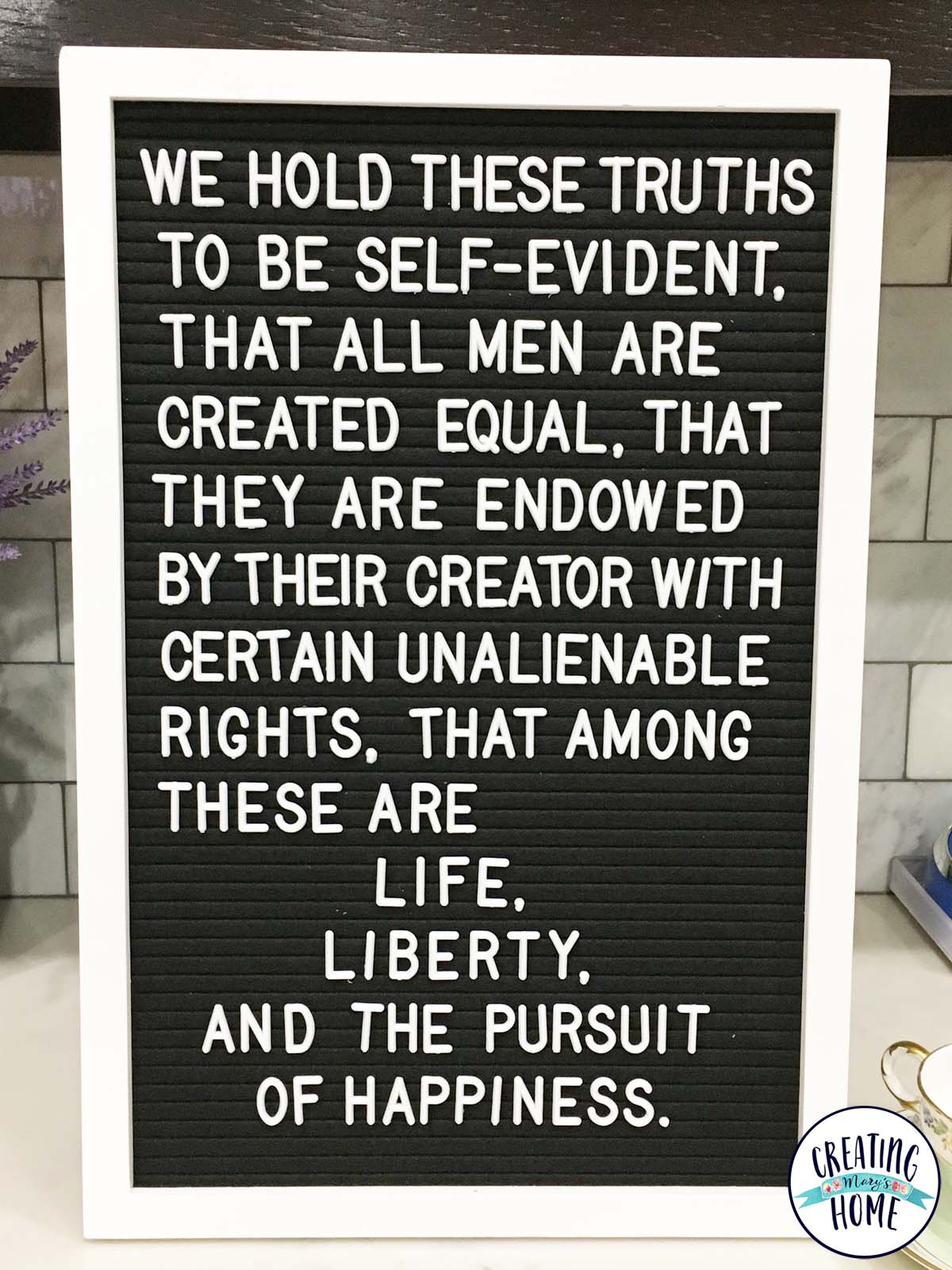 Quote - we hold these truths to be self-evident that all
