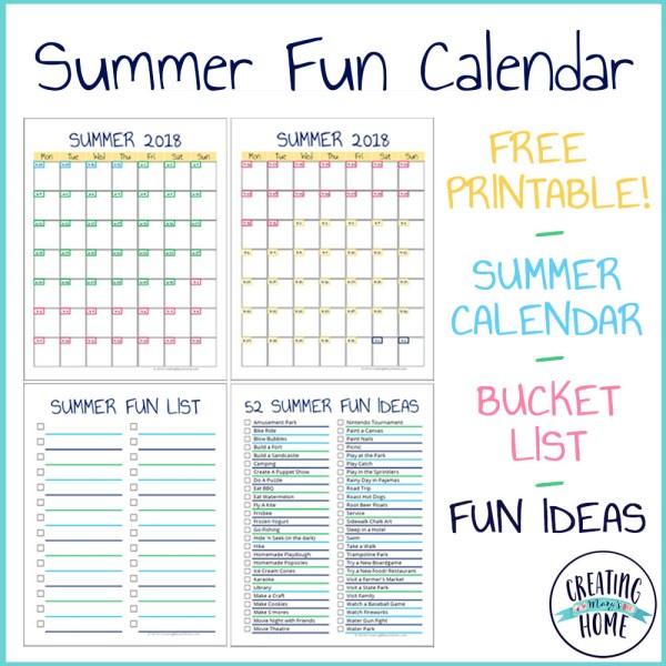 Summer Fun: Calendar, Bucket List & Ideas