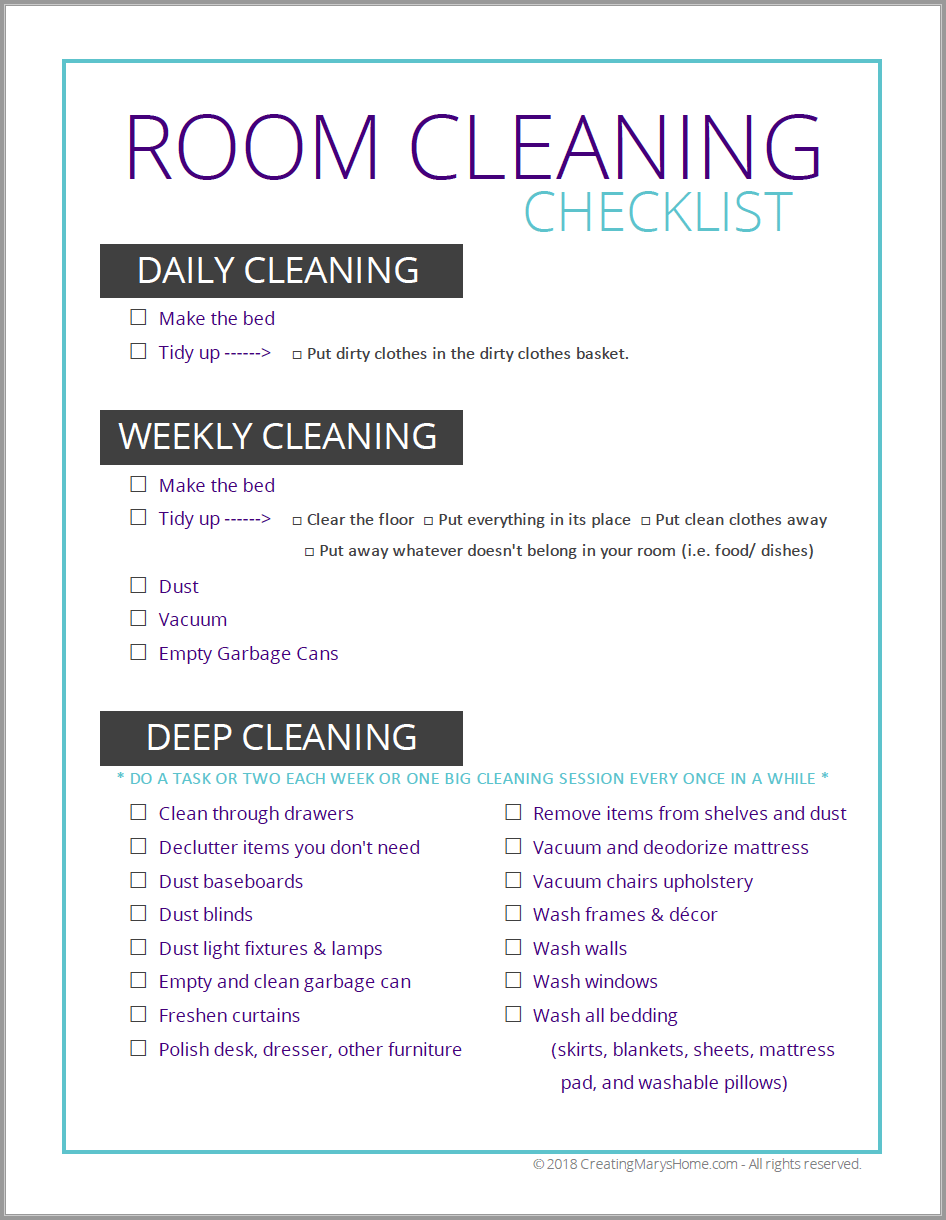 Room Cleaning Checklist For Tweens Amp Teens