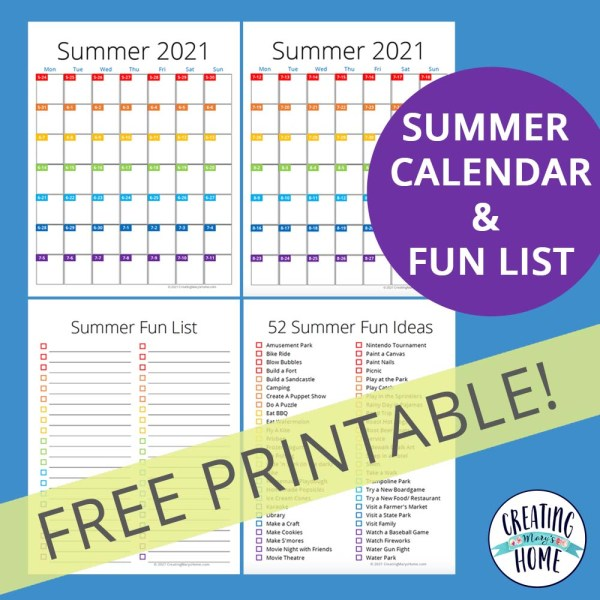 2021 Summer Calendar & Fun List (FREE PRINTABLE)
