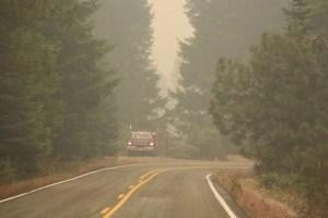 fire truck in the smoke