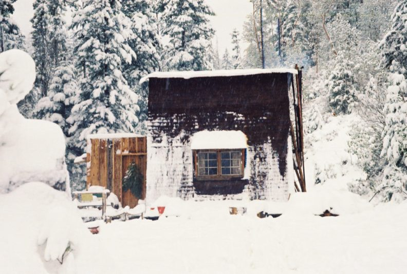 Log cabin in winter  in Oregon  Shaun Brink