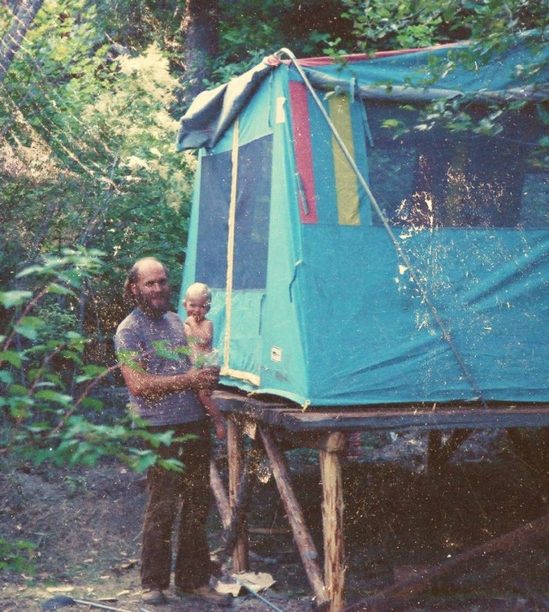 tenting while we built the house 1973
