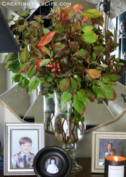 Fall Yard Clippings Arrangement at CreatingThisLife