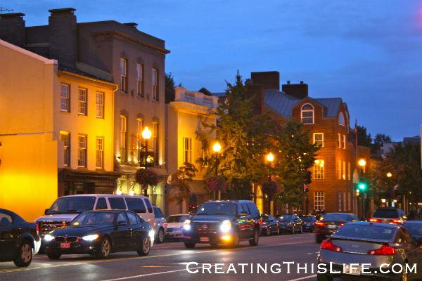 Georgetown street at dusk