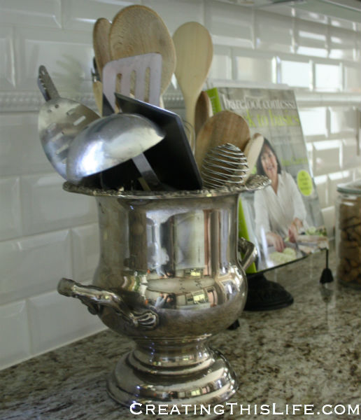 Silver Kitchen Utensil Holder at CreatingThisLife.com