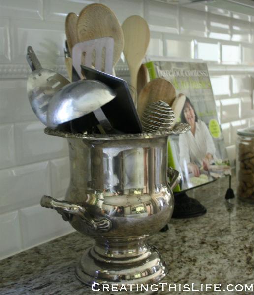 Silver Kitchen Utensil Holder at CreatingThisLife.com