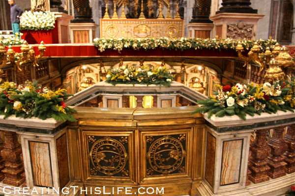 Altar at St. Peters in Rome at Christmas