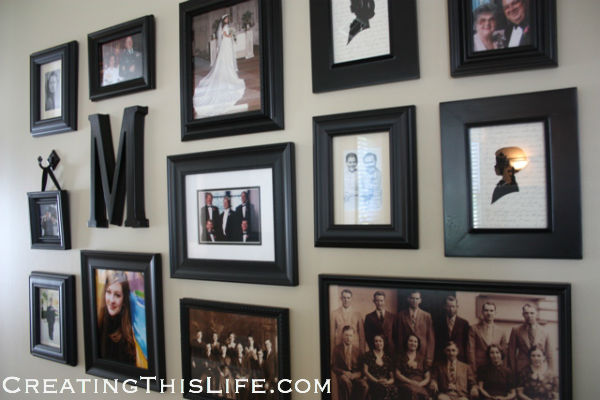 Photo Collage Wall at CreatingThisLife.com