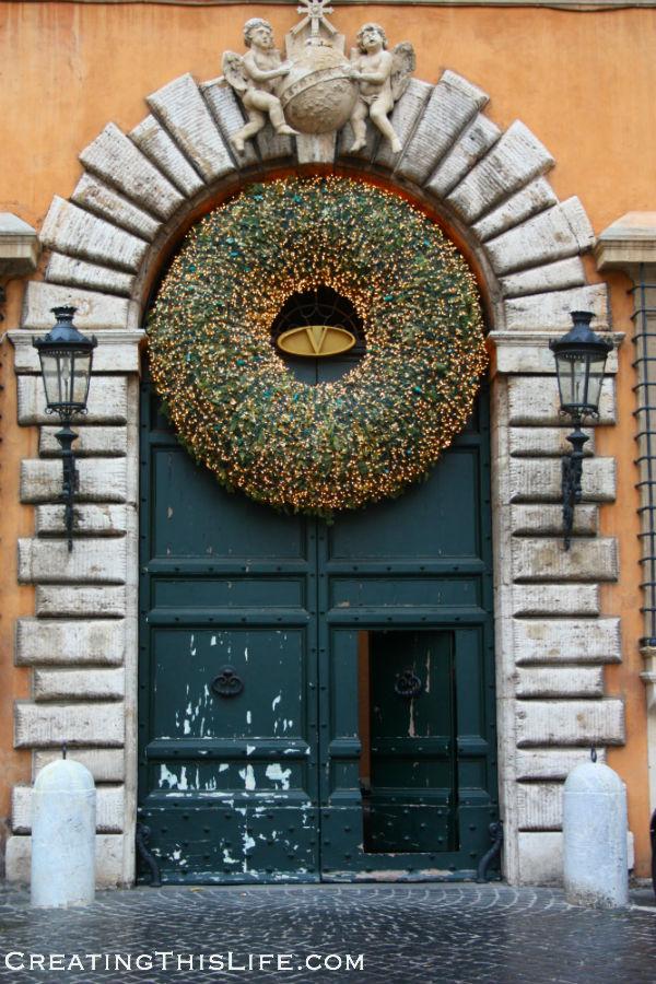 Rome doorway at Christmas