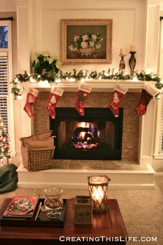 Christmas fireplace family room