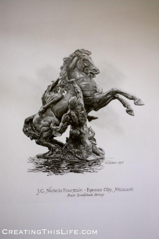 Kansas City J.C. Nichols Fountain East Sculpture Group