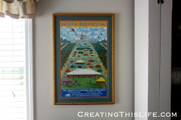 framed national book festival poster