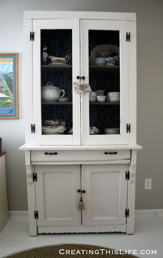 vintage kitchen cabinet in home office
