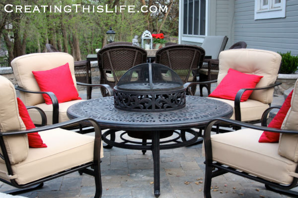 Patio fire pit at CreatingThisLife.com