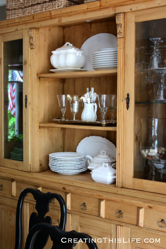 Pine Hutch with White Soup Tureens