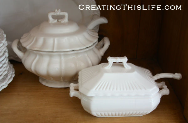 White ironstone soup tureens